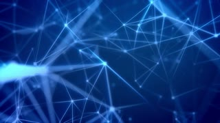 Animation of Beautiful Futuristic background with dots connected lines on a blue background. Loopable.