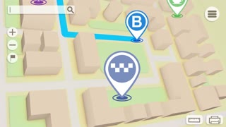 Animation of City map with GPS Icons. Seamless loop.