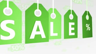Animation of Green Hanging Price Tags, sale labels. Seamless loop.