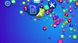 Animation of mobile apps icon set over a blue background. Mobile technology concept.