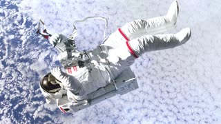 Animation of NASA Astronaut in outer space against the cloudy blue sky background. Elements of this image furnished by NASA.