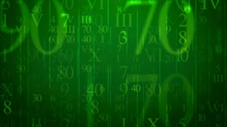 Animation of random numbers figures on a green background. Seamless loop.