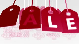Animation of red sale Banners or tags. Shopping sales concept. Seamless loop.