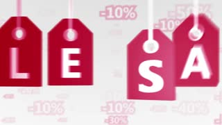 Animation of sale concept, red hang-tags with percentage signs on background. Great for discount/ special offer etc. Seamless loop.