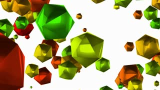 Animation Set of five wipe transitions with colorful polyhedrons. Luma matte channel included.