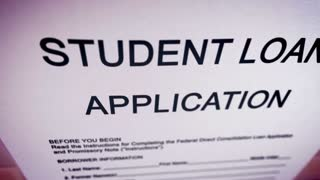 Animation video with blank student loan application on a paper sheet.