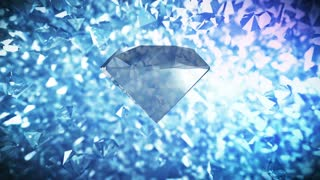 Big Diamond rotates on blinking diamonds background. Luxury crystal background.