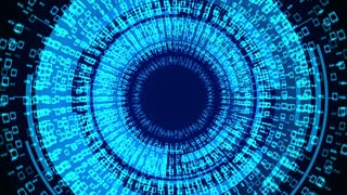 Binary computer code animation are arranged in a circle. Internet Business Security concept background.