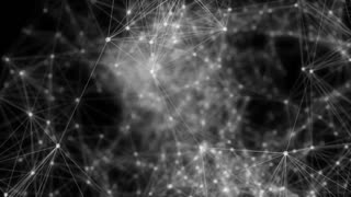 Black and White plexus effect network background.