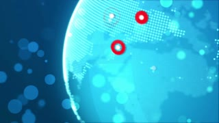 Blue Globe with red major city marks on it. Global business technology concept. Seamless loop.