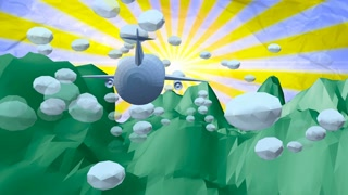 Cartoon Low poly Airplane flying through clouds under green rocks against a background of crumpled paper and the sun on it.