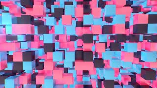 Cellular 3d cube background from pink, black, violet, blue, chops. They generate an optical art effect and look gorgeous. The flight goes through cube wall openings.
