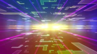 Colorful Future background with different Block Figures moving to the camera. Lens Flares effect. Seamless Loop.