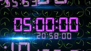 Digital 3D rendering of the time concept with frenzy electronic decimal figures in light violet color in the black background with rapidly rotating green clock arrows