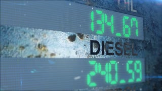 Digital DIESEL and OIL counter count up on a rusted metal background.