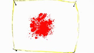 Do Not Cross tape around a crime scene with a blood spot and a human body contour.