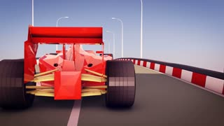 Effective 3d rendering of Formula one autobahn race. The sportive red car has big back wheels and moves very fast turning slightly left and right.