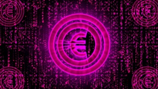 Energetic  3d rendering of a euro sign  of violet color, beating and rotating right and left with falling Matrix style numbers in the black background. Four other euro signs are put in the corners.