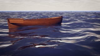 Enigmatic 3d rendering of a big shark circling around a lonely brown boat and pushing it from the bottom, rocking in the dark blue waves of the open ocean. It looks unusual and scary