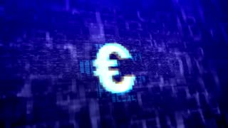 Euro sign on a dark blue background. Business technology concept. Seamless loop.
