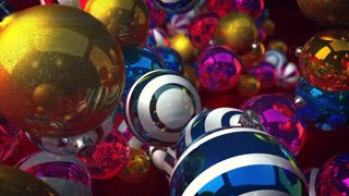 Exciting 3d rendering of New Year and Christmas balls flying forward, turning and spinning around in the gray background. They are sparkling and striped, and make a festive mood.