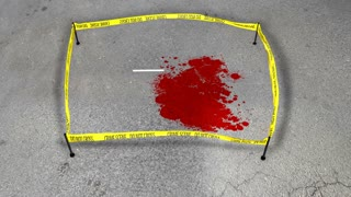 Fresh Crime scene. Do not cross. Spot of a blood. Animation of Chalk outline of murdered victim of Gun Violence on the road.