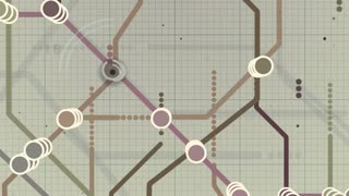 Funny 3d rendering of an abstract animation of a metro map system with several colorful lines and stations, flashing letters and digits, changing swiftly, in the white background with a grid