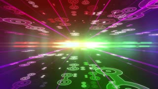 Future colorful background with Abstract Circle Figures moving to the camera. Lens Flares effect. Seamless Loop.