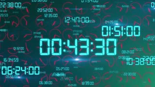 Futuristic  3D rendering of the time concept with crazily moving electronic decimal figures in light green color in the green background with rapidly rotating red clock arrows
