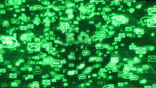 Glow sms, email and chat icons on a dark green grid background. Concept of internet business communication.