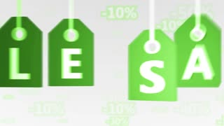 Green hanging sales tags. Shopping sales concept. Seamless loop.