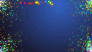 Green Holiday background with animated colorful particles in sides and copyspace in center.