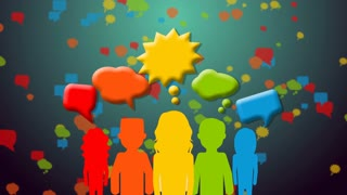 Group of people with speech colorful bubbles.