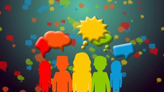 Group of people with speech colorful bubbles