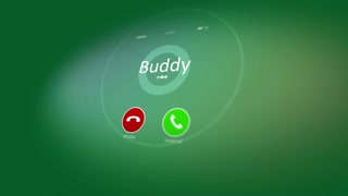 Hilarious 3d rendering of an abstract animated smart phone calling with such words  as Buddy, Mom, Dad, Darling, Unknown. The screen of the telephone is dark green shows swelling circles