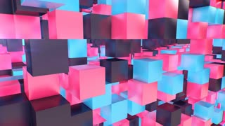 Holographic 3d cube background from pink, black, violet, blue, dices. They create an optical art effect and look superb. The cube walls have empty openings.