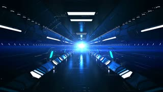 Impressive 3d rendering of a dark blue tunnel with sparkling surface and light blue illuminators. The fast ride goes though it making an optical art effect.