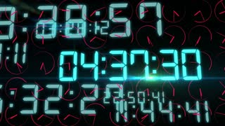 Impressive 3D rendering of the time concept with flashing electronic decimal figures in light blue color in the black background with quickly rotating red clock arrows