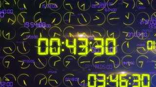 Impressive  3D rendering of the time concept with madly moving electronic decimal numbers in bright yellow color in the dark blue background with rapidly revolting yellow clock arrows