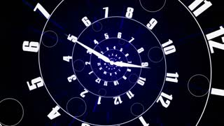 Infinity time spirals clock animation. Infinity life concept.
