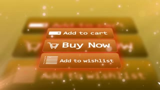 Internet shopping buttons. Buy now. Add to cart. Add to wishlist. Electronic commerce concept.