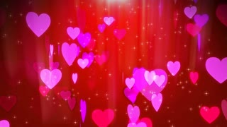 Passionate 3d rendering of pink love hearts turning around and spinning in the dark rosy background with red center, sparkling spots, and gleaming stars. The holographic picture looks lovely