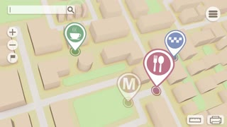 Perspective gps city map with markers and rounded icons. Seamless loop.
