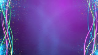 Pink background with animated colorful lines and particles and copyspace in center.