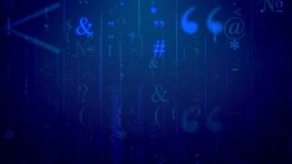 Random bracket, special marks, semicolon, colon, etc on a blue background. Seamless loop.