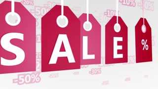 Red hanging sales tags. Shopping sales concept. Seamless loop.