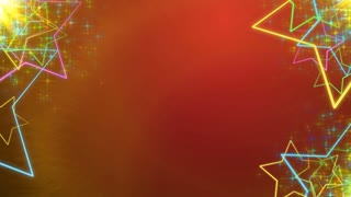 Red Holiday background with animated colorful stars in sides and with copyspace in center.