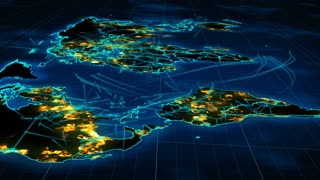 Revolting  3d rendering of the communication world map from a flying satellite perspective with illuminated towns and villages, dark greenforests, blue oceans and seas, fast communication lines