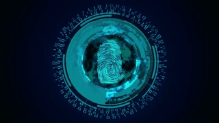 Safety concept. Blue abstract hi speed internet technology backdrop. Fingerprint scan. Cyber security.