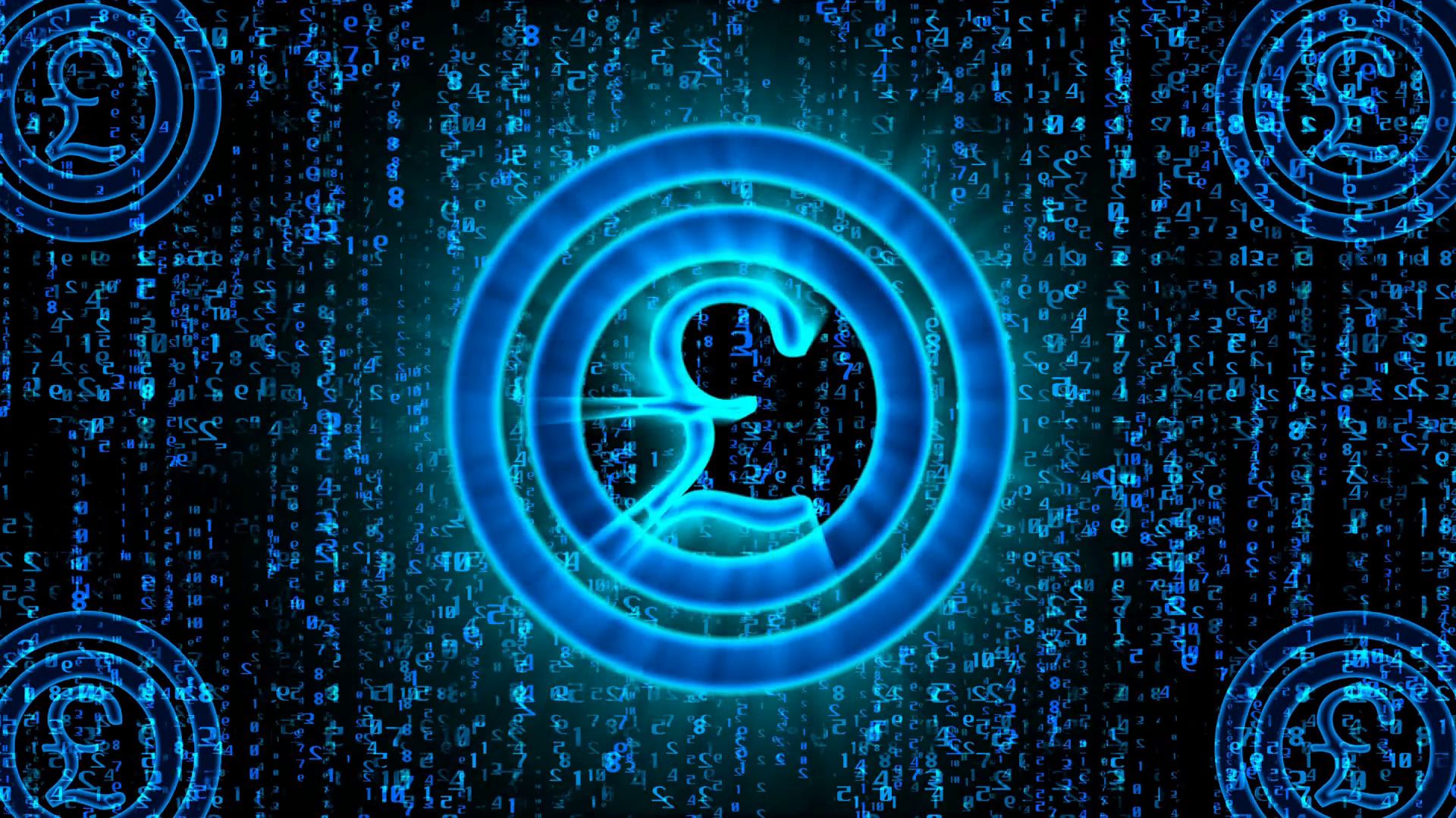 Sci Fi 3d Rendering Of A Pound Sign Of A Blue Color Thumping And Turning Right And Left With Falling Matrix Style Numbers In The Black Background Four Other Pound Signs Are Seen